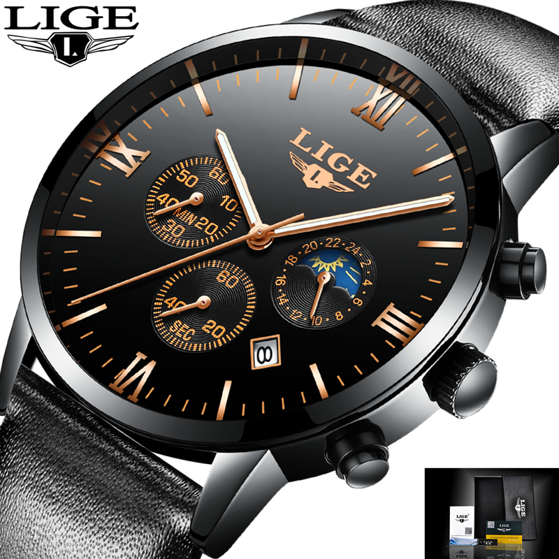 2017 LIGE Watches Top Brand Luxury Waterproof 24 hour Date Quartz Watch Man Leather Sports Wrist Watch Men Waterproof Clock Mens цена