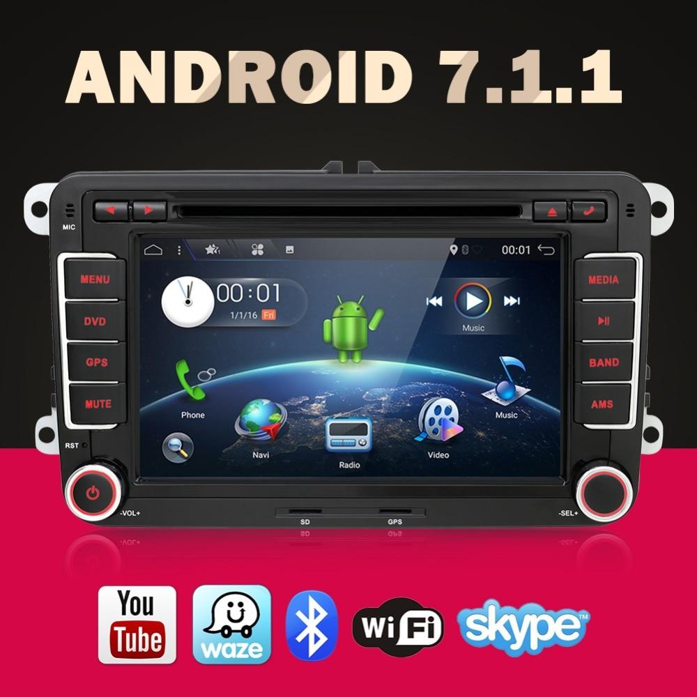 Quad Core Android 7.1 մեքենա DVD նվագարկիչ GPS 2Din 7 Inch For Volkswagen VW Skoda POLO PASSAT B6 CC TIGUAN GOLF 5 Fabia Wifi Cam 1080