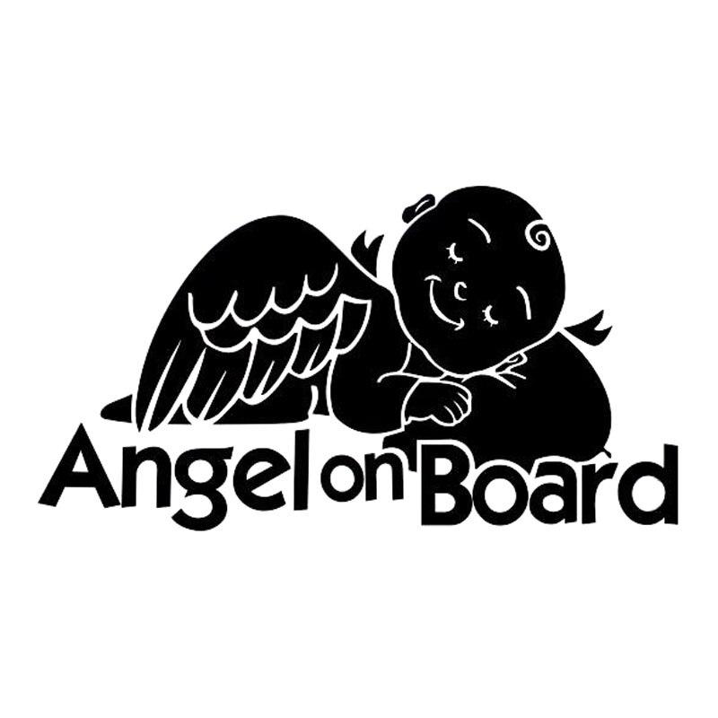 17.8*9.5 см Ангел на борту милые Детская безопасность знак винил стайлинга автомобилей наклейка на бампер автомобиля Стикеры черный/серебрист...