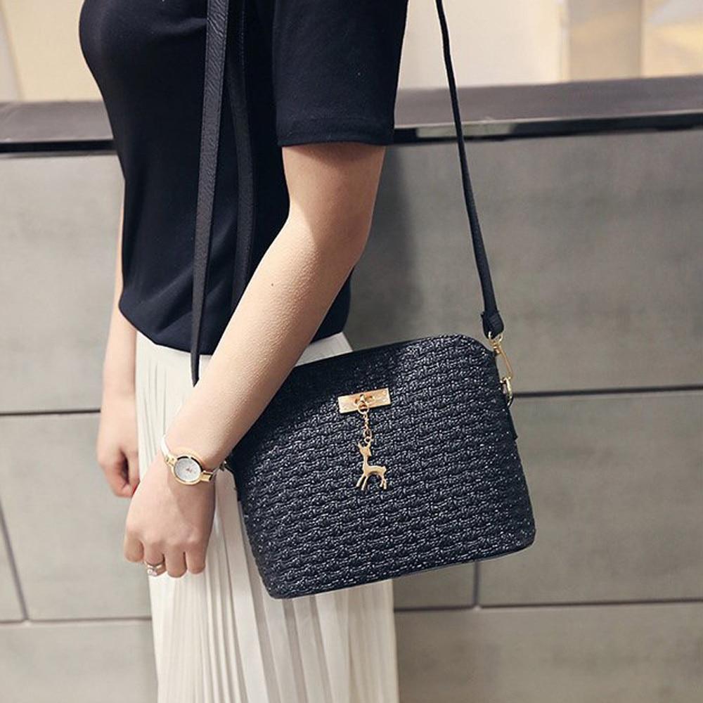 Womens Leather Crossbody Bag Weave Small Deer Shoulder Bags Messenger Bag   Popular JUNE1 messenger bag