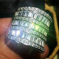 Размер 5,6, 7,8, 9,10 ручной работы Серебряный квадрат 5A cz камень циркон наложения Eternal обручальные кольца для женщин и мужчин