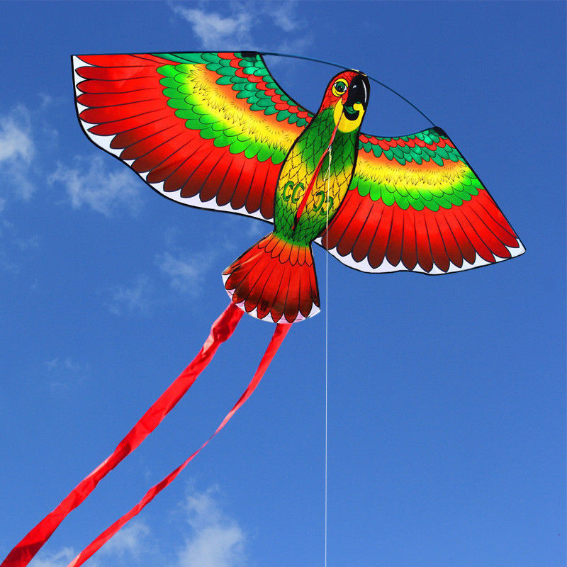 1Pc Red Parrots Kite Bird Single Line Breeze Kite Flying Outdoor Flying Fun Sports For Kids 110*80cm image