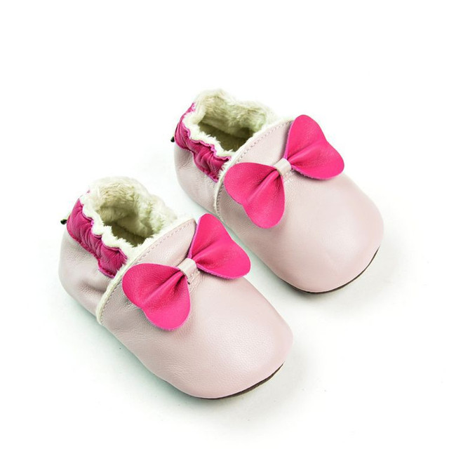 Winter warm Baby Girl Shoes Soft Sole Genuine Leather Baby Moccasin Pink bow Toddler Infant Footwear Pre-walker Free Shipping