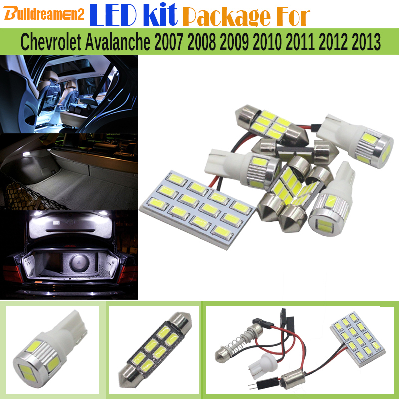 Buildreamen2 9 x Car Interior 5630 Chip LED Lamp LED Kit Package White Map Dome Trunk Light For Chevrolet Avalanche 2007-2013 12pcs white canbus car super bright led light bulb interior package kit for 2009 2012 audi tt mk2 map trunk door glove box lamp