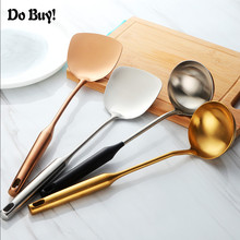 Thicken Stainless Steel Turner Soup Ladle Gold Ladle Spoon Cooking Tool Set Long Handle Kitchen Utensil Slotted hollow Wall Hang цена и фото