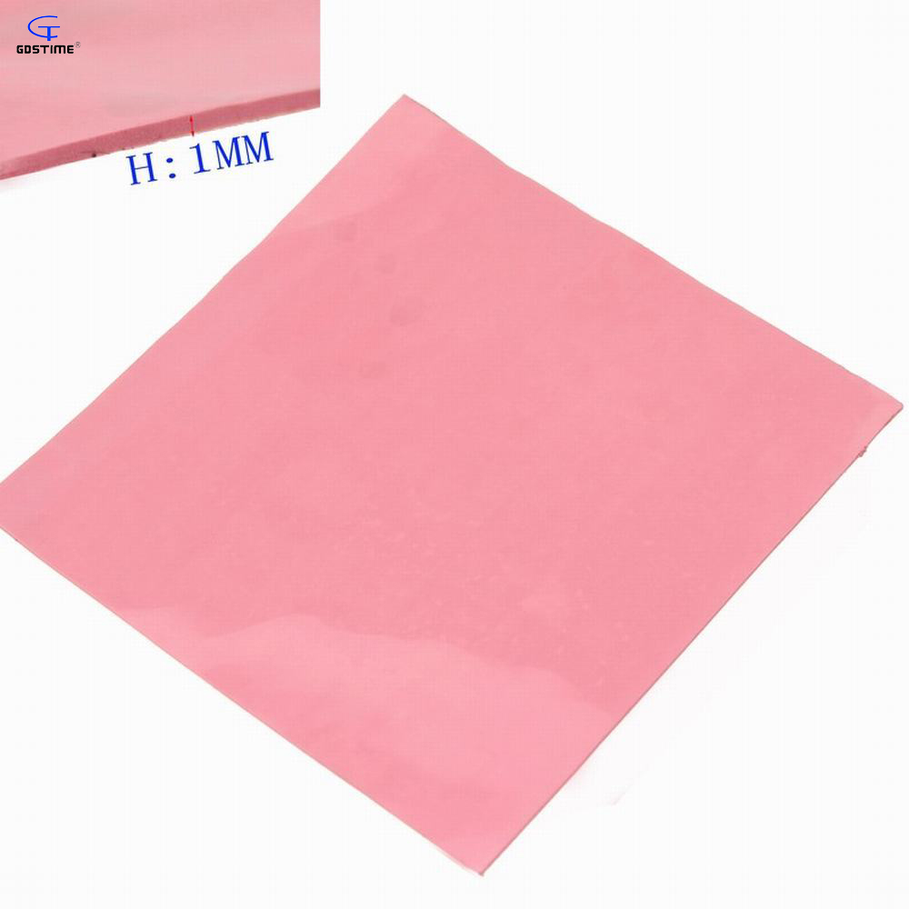 free shipping 1Piece Gdstime 100mm x 100mm x 1mm Thermal Conductive Silicone Pad Laptop GPU CPU Heatsink Cooling pink New аудио наушники ritmix наушники ritmix rh 118 silver