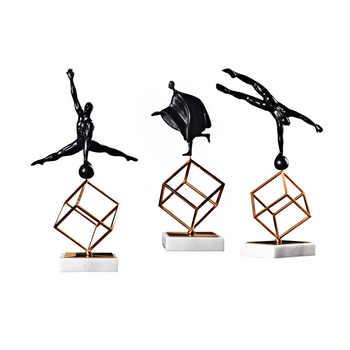 Scandinavian Furnishings Sculpture Model Gymnastics Sports Posture Figurines Living Room Decor Marble Metal Handicrafts - Category 🛒 Home & Garden