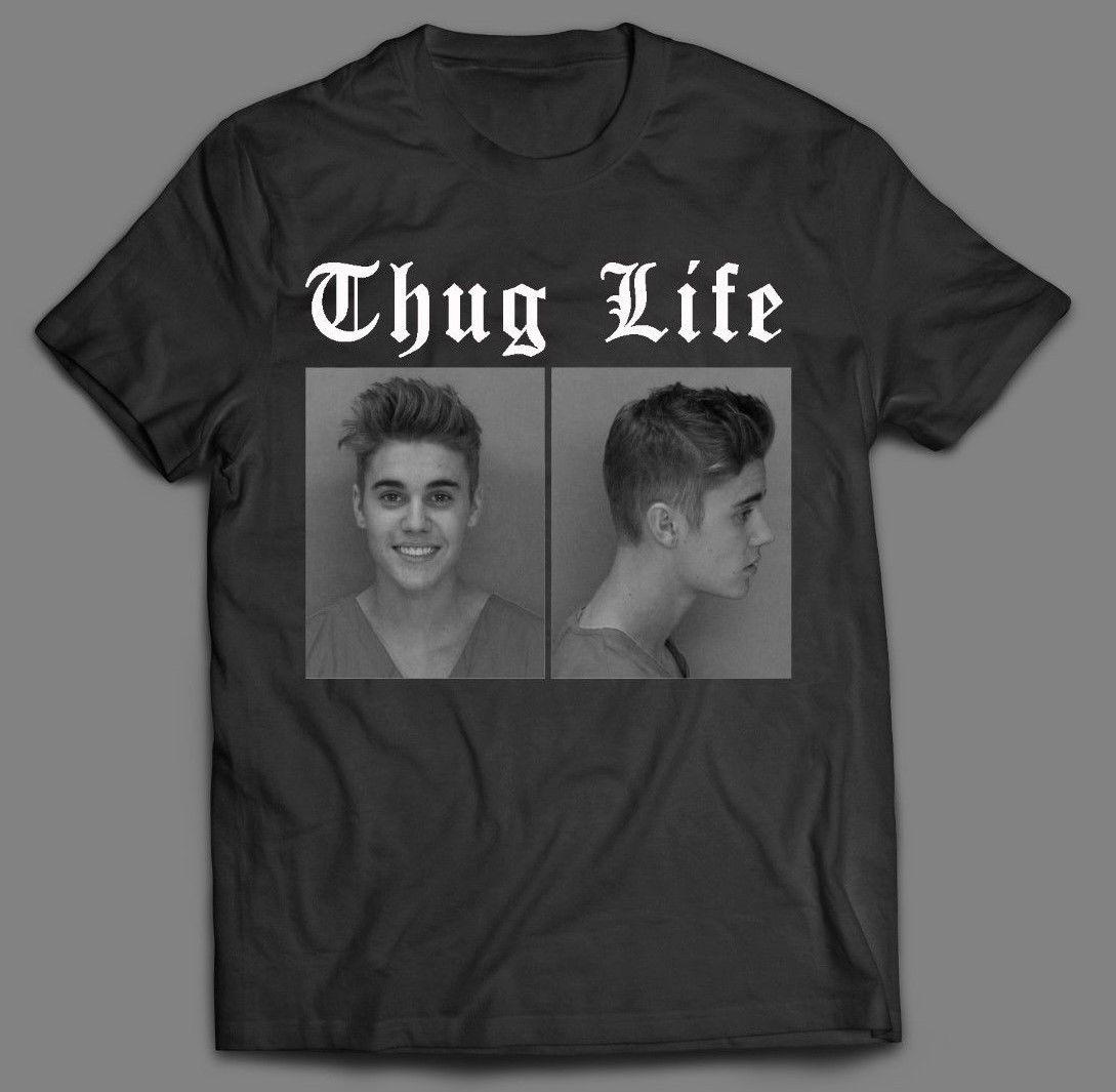 Джастин Бибер Thug Life Кружка выстрел забавные * олдскулл арт * Для мужчин рубашка * Полный Передняя *