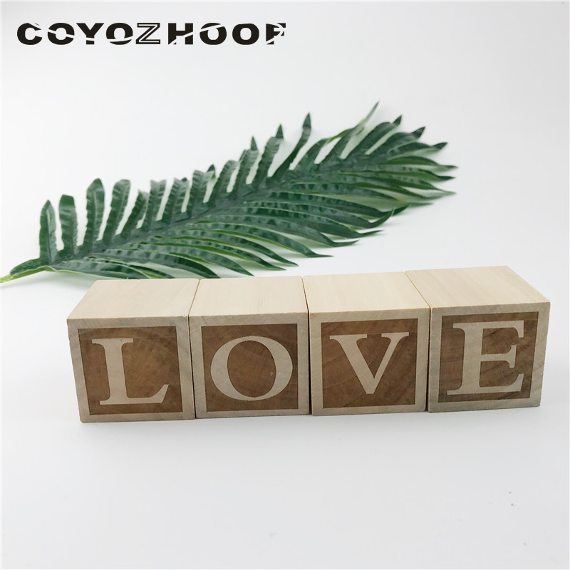 Us 9 35 25 Off 4pcs Natural Nursery Blocks Love 4cm Baby Or Boys Decor Christmas Kids Best Gifts Children Toys In Decorative