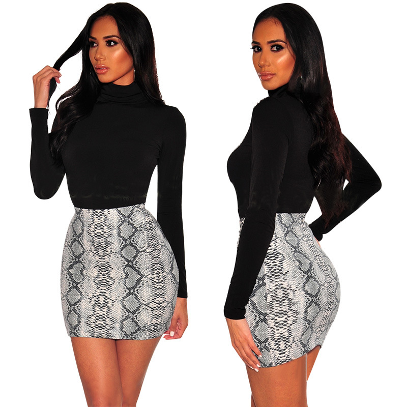 Image 2 - Sexy Women Snake Print Skirt Summer High Waist Mini Skirt Short Pencil Bodycon Femme Slim Package Hip Plus Size 2019-in Skirts from Women's Clothing