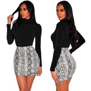 Image 2 - Sexy Women Snake Print Skirt Summer High Waist Mini Skirt Short Pencil Bodycon Femme Slim Package Hip Plus Size 2019