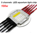 100w full spectrum 5 channel High Power led aquarium light chip 7 colors 410-660nm for reef,marine,coral,fish tank