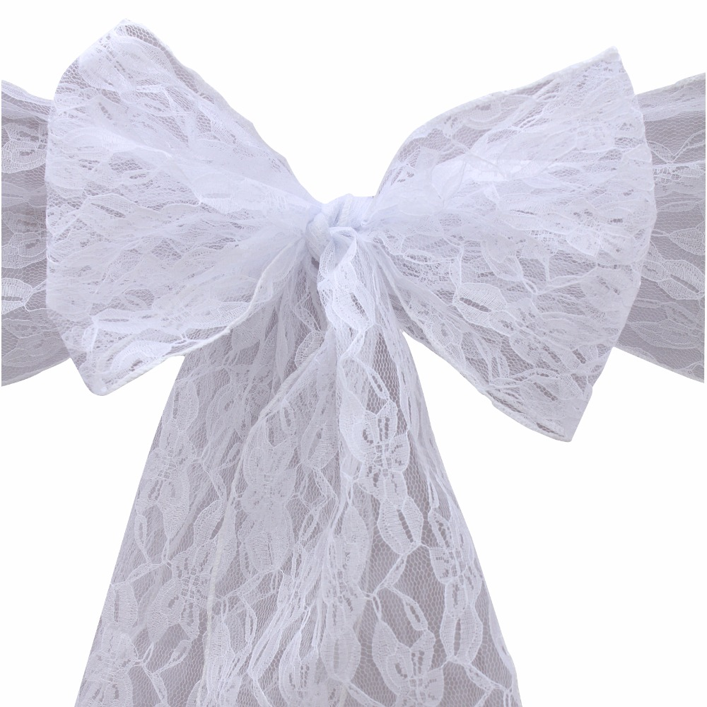 30pcs white Lace Chair Sash Wedding christmas party Decoration ...