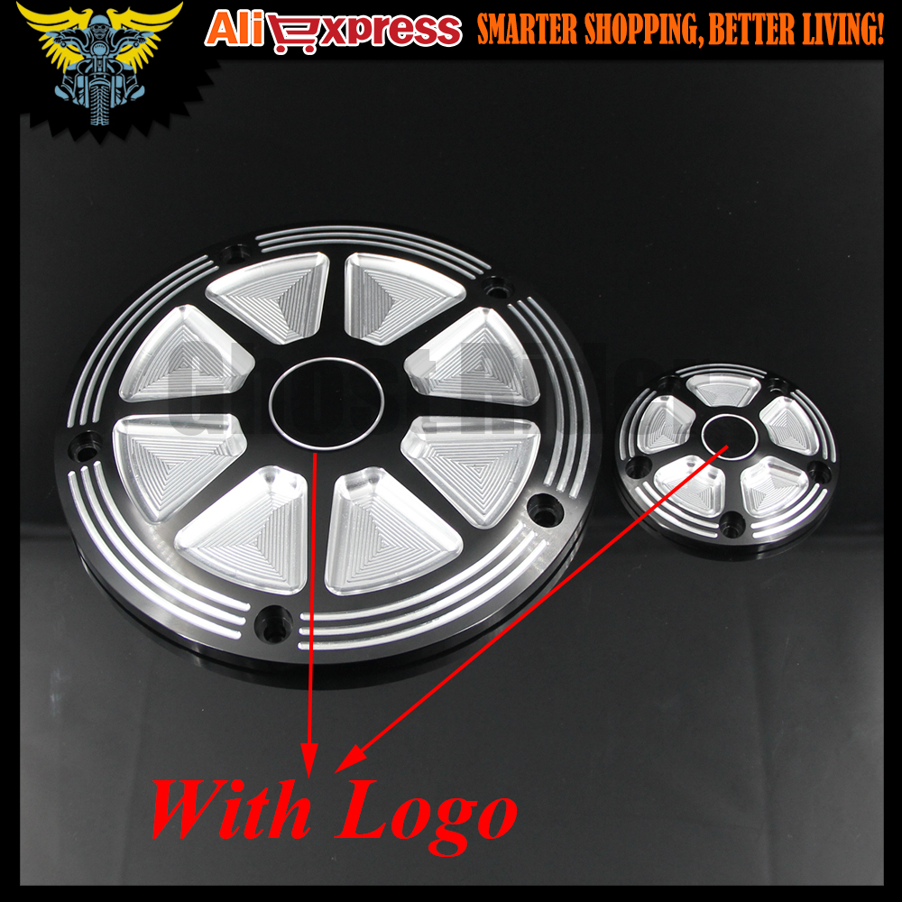 Motorcycle CNC Deep Cut Derby Timer Cover Timing Covers For Harley Softail Dyna FLHRS FLTFB Road King before 2016 year(With LOGO motorcycle parts derby timing timer cover 5 holes cover cnc beveled black for harley road king softail dyna flhrs fltfb