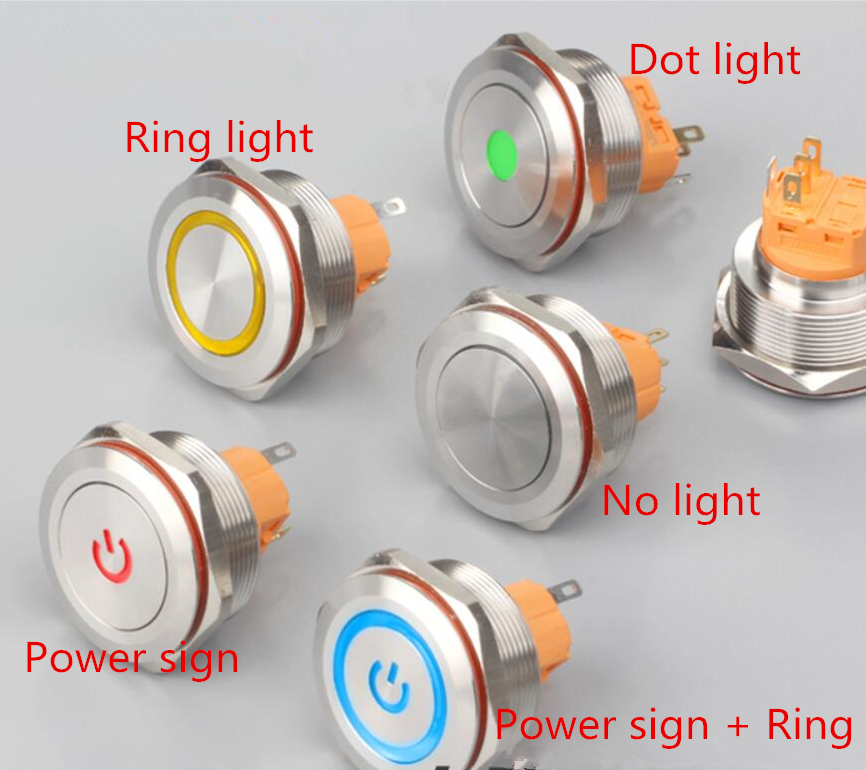 Stainless steel Metal button switch self locking/self reset 30mm 12V/24V/36V/220V red blue green waterproof IP67 50pcs lot 6x6x7mm 4pin g92 tactile tact push button micro switch direct self reset dip top copper free shipping russia