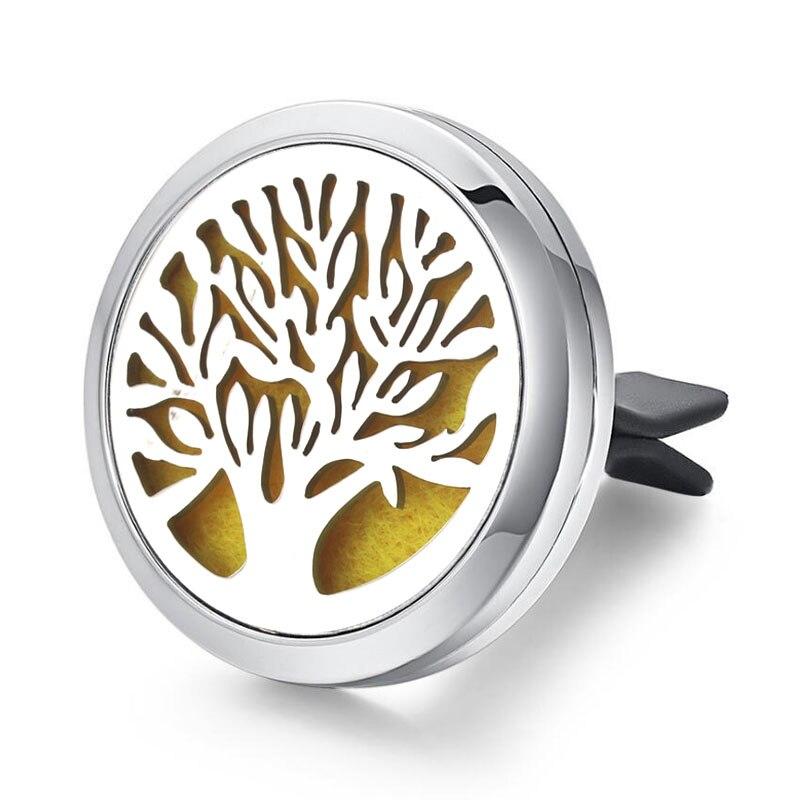 30 мм Дерево жизни освежитель воздуха для автомобиля из нержавеющей стали духи эфирное масло диффузор медальон случайная отправка 1 шт масляные подушечки в подарок 4579 - Окраска металла: V