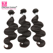 DreamDiana Malaysian Body Wave 3 Bundles Natural Black Remy Wave Hair Bundles Dyeable 100% Human Hair Extensions Express Deliver(China)