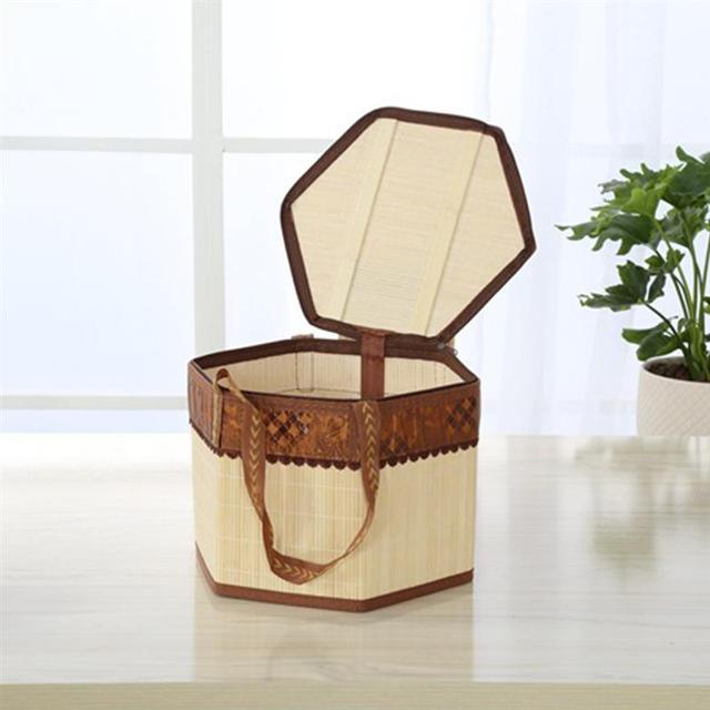 Tecido de bambu Cesta de Piquenique Cesta de Compras Cesta De Armazenamento com Tampa e Alça