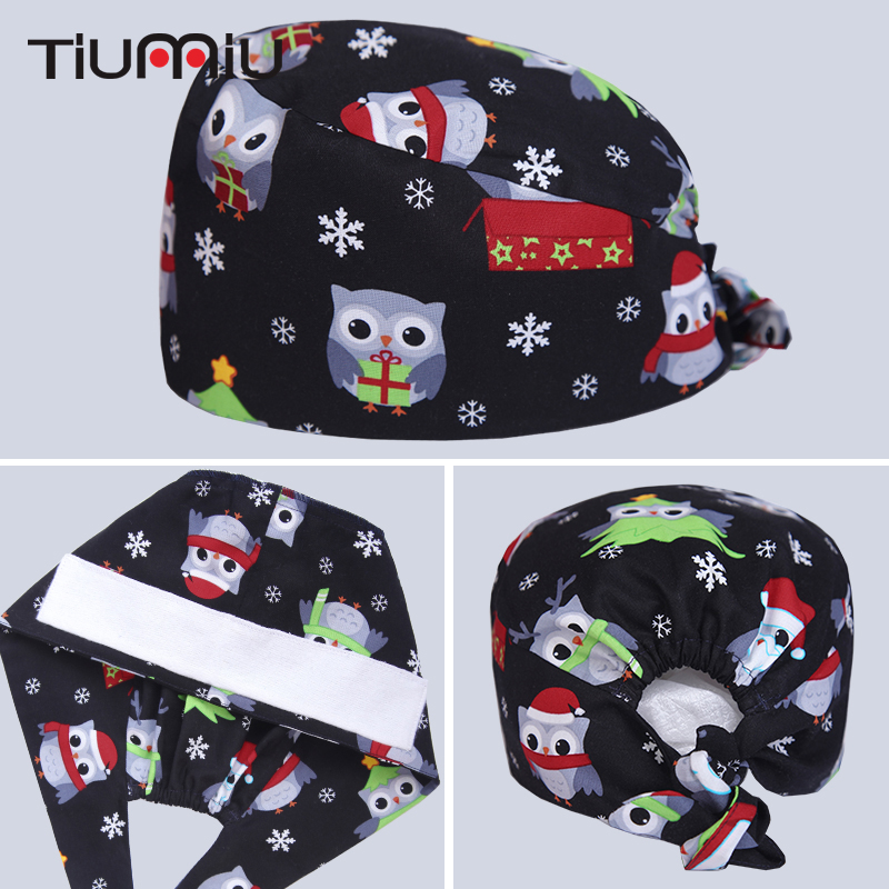 Accessories Cute Dog Owl Printed Medical Cap Clinic Surgical Hospital Doctor Cap Laboratory Pharmacy Beauty Salon Workwear Hat For Men Women Work Wear & Uniforms