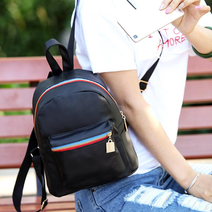 Backpack female Backpacks Girls women s School Bag Cartoon Teenage Leather Travel Escolar Feminina Mochila Black