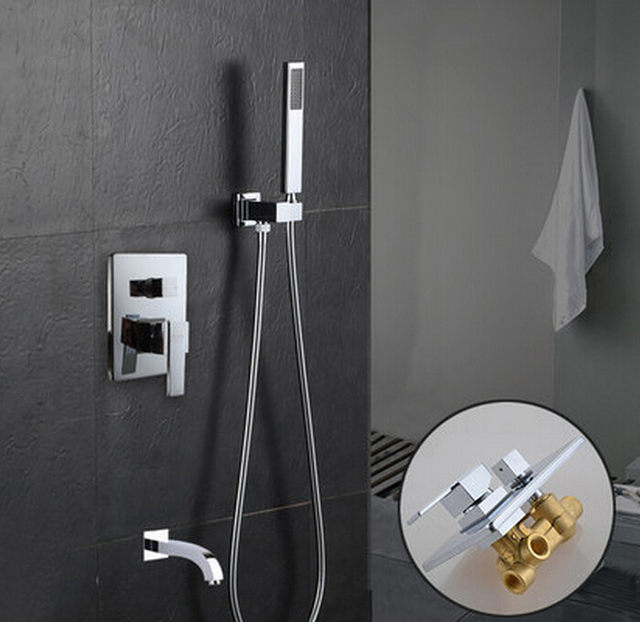 Free shipping Wall Mounted Shower Mixer faucet, Brass chromed ...