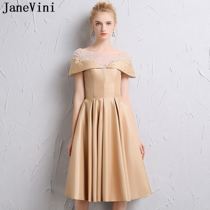 JaneVini Charming Champagne Satin Short   Bridesmaid     Dresses   A Line Sheer Scoop Neck Beads Knee Length Formal Prom Gowns for Women