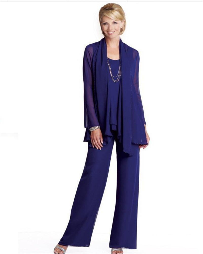 Plus Size Chiffon Mother Of The Bride Groom Pant Suits With Long ...
