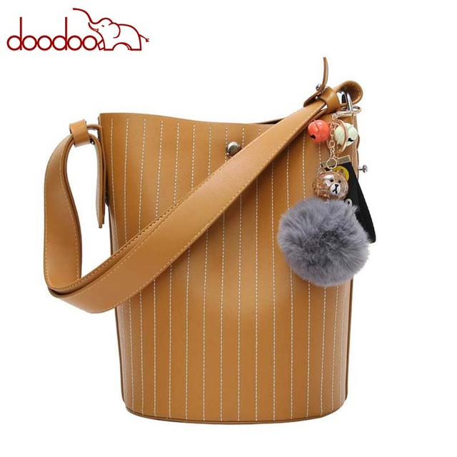 Fashion New Korean Style Women Bag PU Leather Striped Bucket Composite Bag  Ladies Tote Handbag Female Shoulder Messenger Bag b3a8f46a511d5