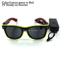 Оптовая продажа 100 шт. двойной Цвет EL Провода Rave Солнцезащитные очки для женщин свет партия Очки праздник DIY украшения