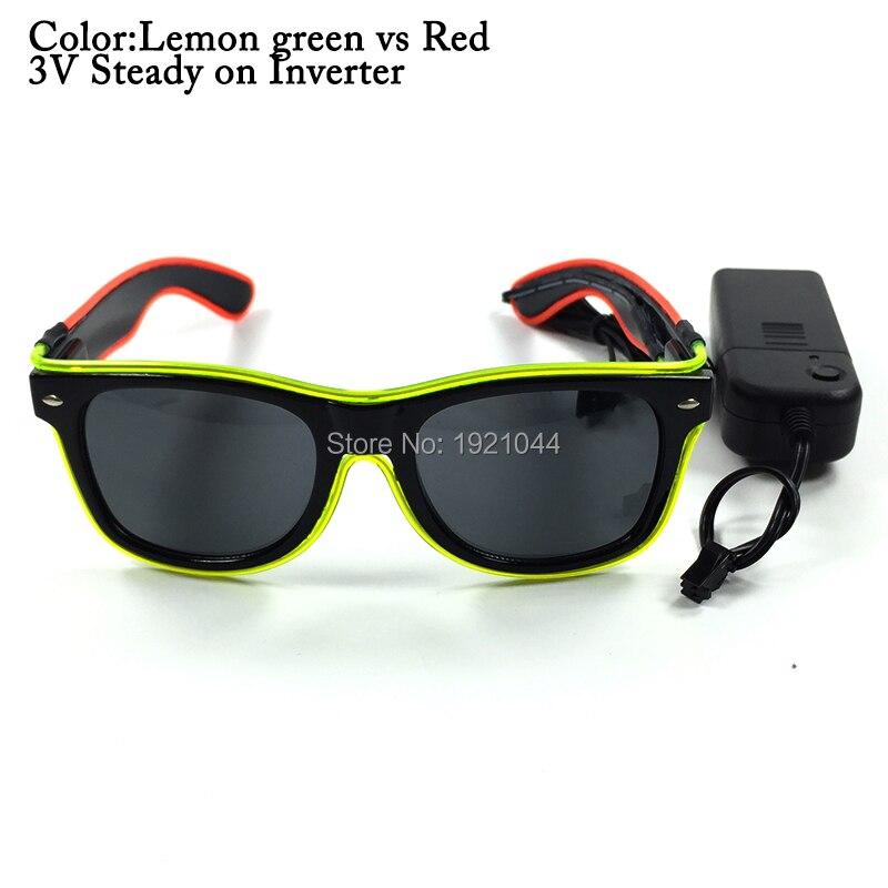 Wholesale 100pcs Double Color EL Wire Rave Sunglasses LED Light Up Party Glasses Holiday DIY Decoration