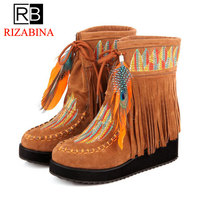 RIZABINA 2018 New Women Ankle Boots In Plus Size 31 46 Wedges Mixed Colors Covers Platform Shoes Winter Charming Boots For Women