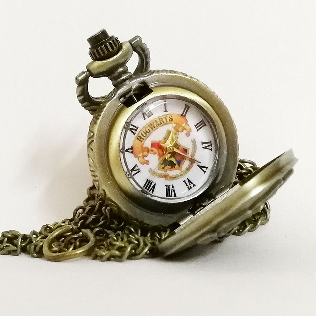 Vintage Retro Bronze/Black Harry Potter Hogwarts School H Color Dial Quartz Pocket Watch Analog Necklace Pendant Women Mens Gift
