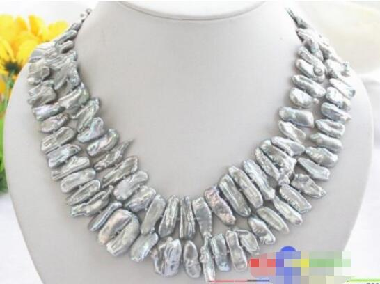 FREE SHIPPING>@@> Hot sale new Style >>>>> P2412 Luster 2row 30MM GRAY DENS BIWA PEARL NECKLACE