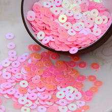 4000pcs/lot (30g) Pink AB  color 4mm Flat round loose sequins Paillettes sewing Wedding craft Good quality Free Shipping