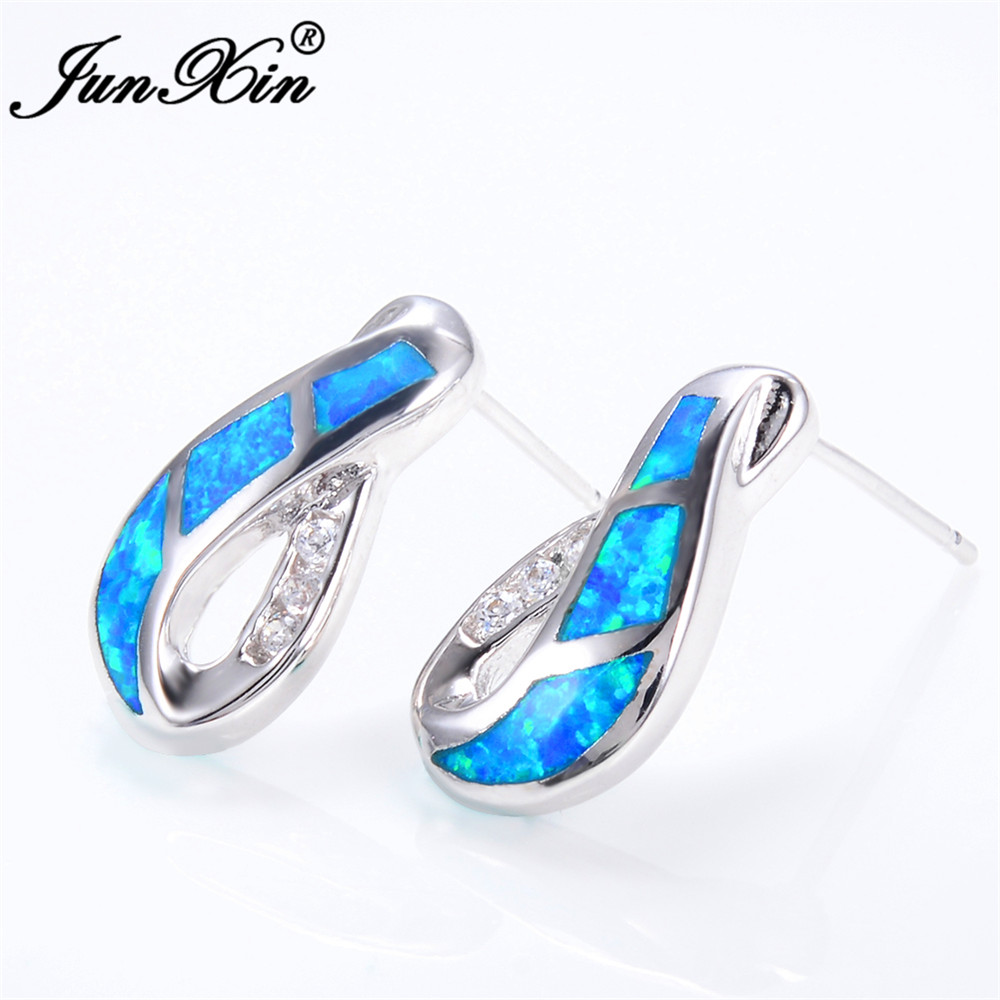 Junxin Female Blue Fire Opal Stud Earring With Crystal Aaa Zircon 925 Sterling Silver Filled Jewelry Double Earrings For Women In From