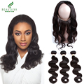 3Pcs/Lot Brazilian Elastic Band 22x4x2 360 Lace Frontal Closure With Bundles 7A Grade 360 Lace Band Frontal Cloure With Bundles