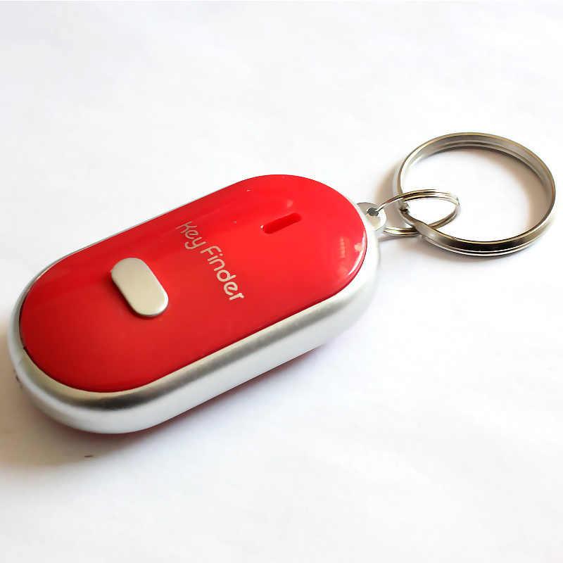 LED Key Finder Locator Encontre Chaves Perdidas Cadeia Chaveiro Apito Sound Control ND998
