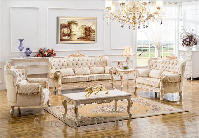 Superbe Hot Sell Antique Sofa Set Solid Wood Carving Sofa European Style Leather Sofa  Set Living Room Furniture