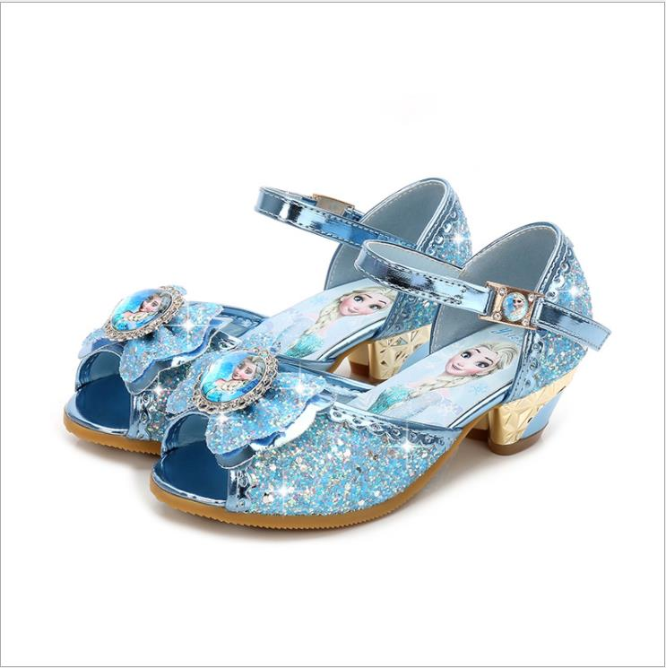 Summer Kids Girls High Heels Sandals For Party Sequined Cloth Blue Pink Shoes Ankle Strap Snow Queen Children Girls Pumps Shoes