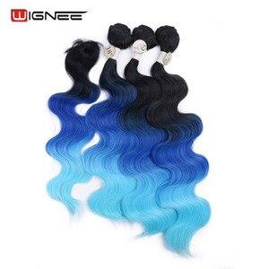 Image 5 - Длинные волнистые волосы Wignee с закрытием, термостойкие вьющиеся волосы, цветные фиолетовые/серые синтетические волосы для женщин