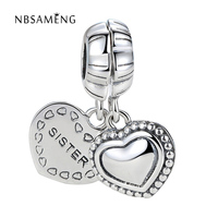 A Pair Authentic 925 Steling Silver Bead Charm Heart Dear Sister Pendant Beads Fit Pandora Bracelet