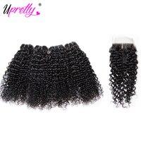 Upretty Tóc Brazil Curly Hair 4 Bó với Đóng Cửa 100% Remy Nhân Extensions Tóc Tóc Xoăn Lớn và Ren Đóng Cửa Deals