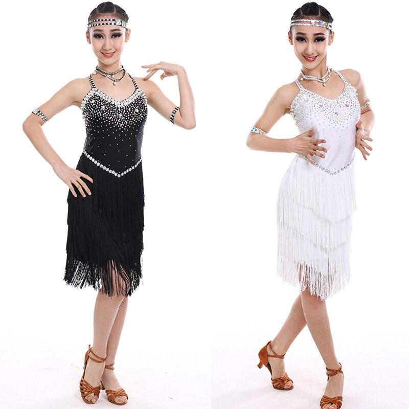 4 couleurs robe de danse latine femmes enfants robes pour filles frange Cha Cha Flamengo Tango Salsa robe robe de danse compétitive BL1320