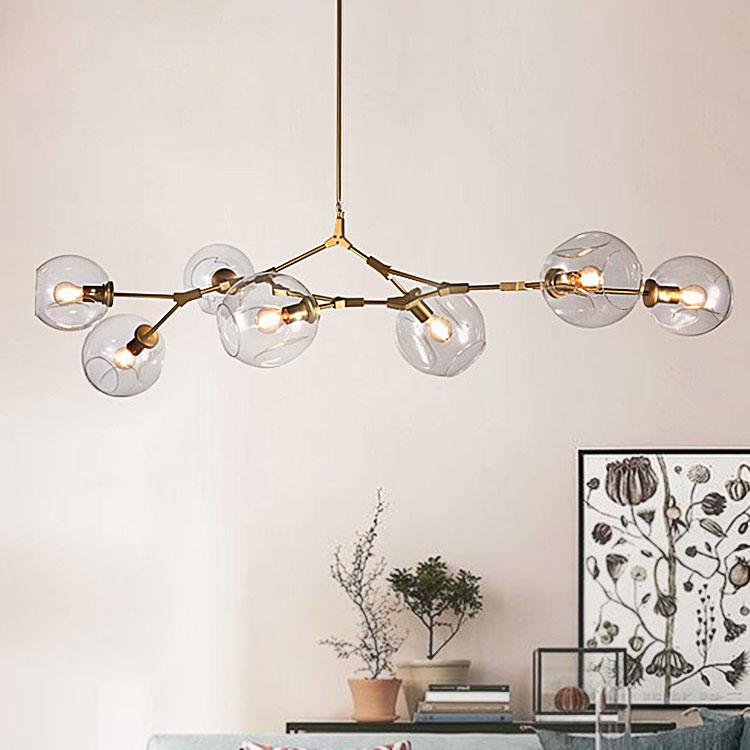Vintage suspendus magie lumière élégant sphère balle industriel LOFT Fer droplight Noir Or arbre classique moderne LED pendentif lampe