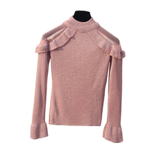 Women Ruffles Knitted Sweater Shinny Mesh Patchwork Sleeve Casual Jumper Tops 2019 Long Flare Sleeve Turtleneck Sweaters New bell sleeve jumper