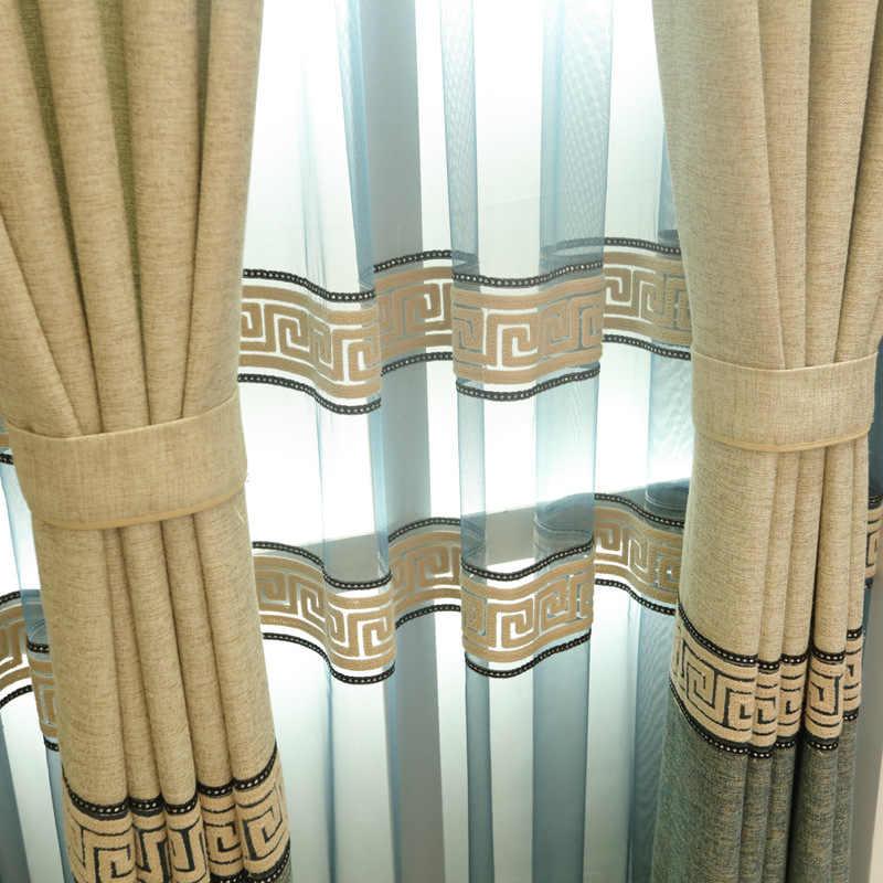 Hiện đại cao cấp xanh dương mất điện màn cho phòng khách phòng ngủ Windows Sheer voan drap chia Cotton và vải lanh WP302 & 25