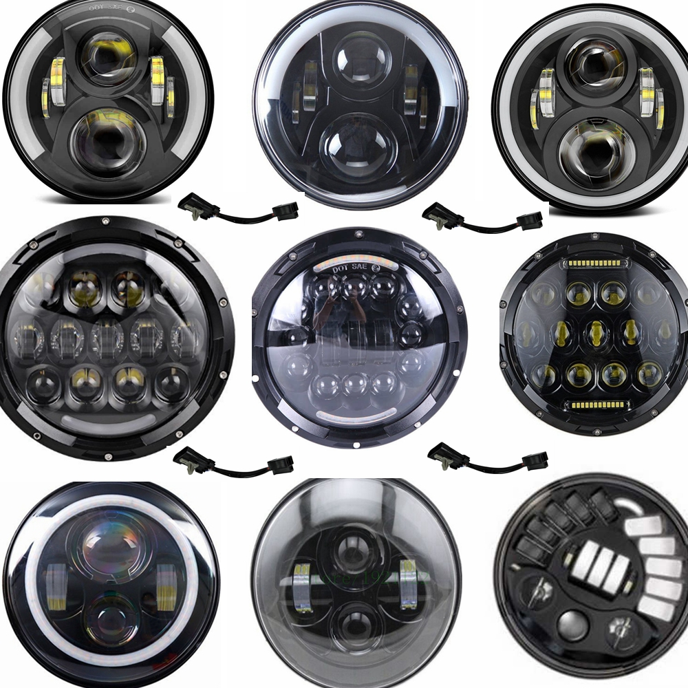 universal 7 led car motorcycle headlight h4 phare farol. Black Bedroom Furniture Sets. Home Design Ideas