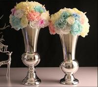 Europen silverTabletop Vase Metal Flower Vase Table Centerpiece For Mariage Metal Flowers Vases For Wedding Decoration HP049