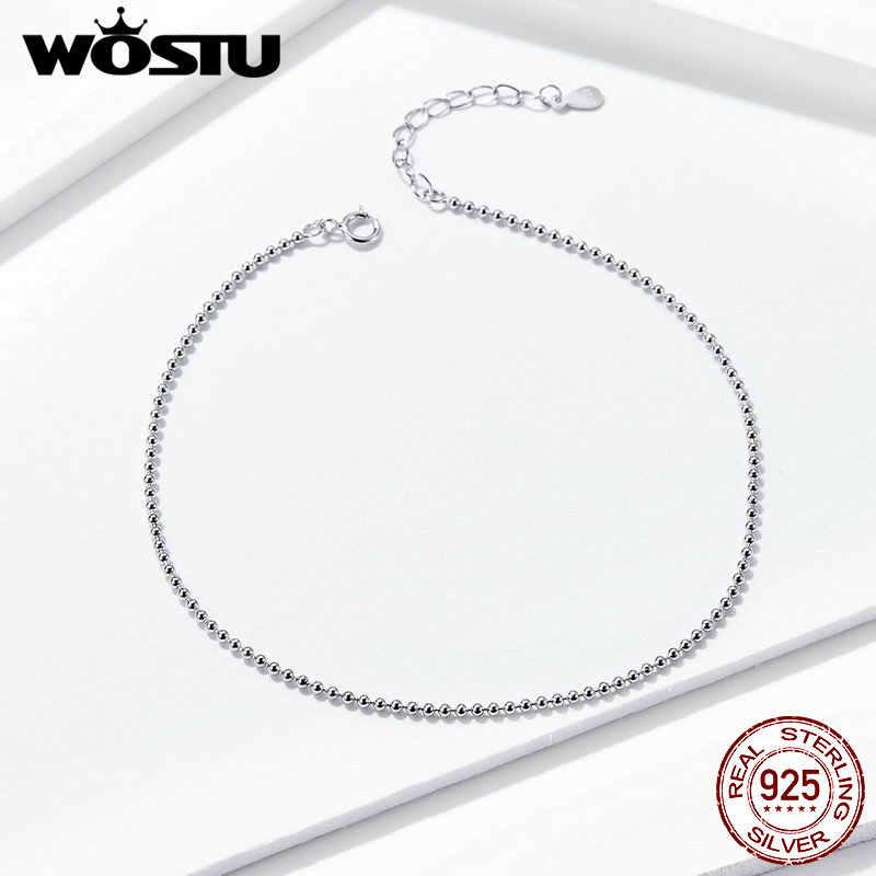 WOSTU シンプルなスタイルの裸足サンダルアンクレットチェーン 925 スターリングシルバーアンクレットビーズ女性アンクレットギフト FIT002