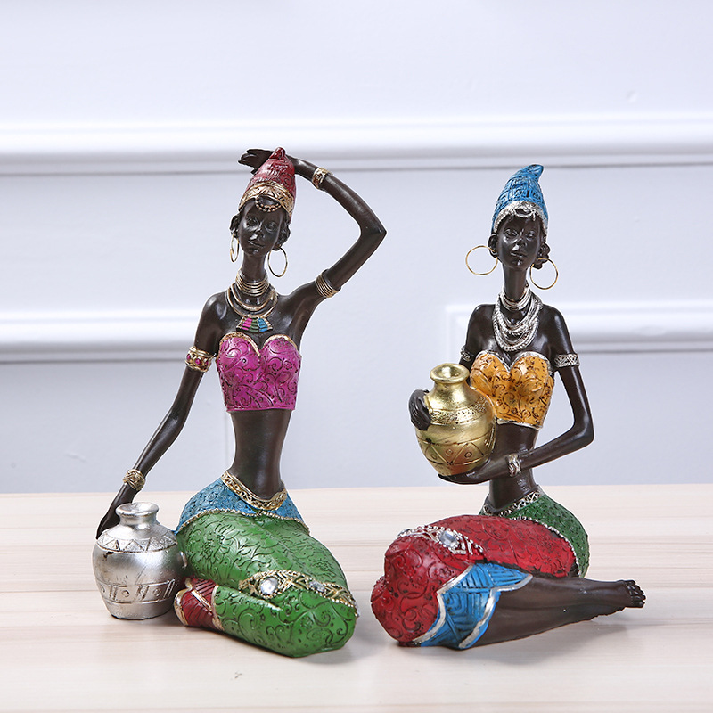 MRZOOT  Sculpture Home Decoration Accessories African Statue Resin Statue Ornaments African Woman Staue Creative SculptureMRZOOT  Sculpture Home Decoration Accessories African Statue Resin Statue Ornaments African Woman Staue Creative Sculpture